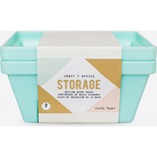 Desktop Storage Nesting Berry Containers 2/Pkg, Light Teal