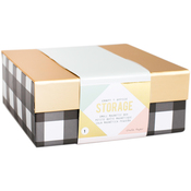 Small Black/White Stripes - Desktop Storage Magnetic Box