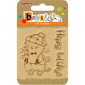 "Happy Holidays - ScrapBerry's Basik's New Adventure Clear Stamps 2.7""X2.7"""