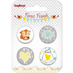 #1 - ScrapBerry's Forest Friends  Button Embellishments