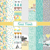 "Single-Sided - ScrapBerry's Forest Friends Paper Pack 6""X6"" 12/Pkg"