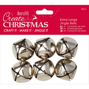 Silver - Papermania Extra Large Jingle Bells 6pcs