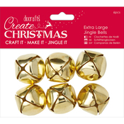 Gold - Papermania Extra Large Jingle Bells 6pcs