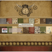 "9 Double-Sided Designs/1 Each - ScrapBerry's Mechanical Illusions Paper Pack 12""X12"" 9/Pkg"