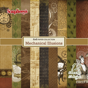 "12 Single-Sided Designs/1 Each - ScrapBerry's Mechanical Illusions Paper Pack 6""X6"" 12/Pkg"