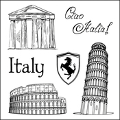 "Italy - ScrapBerry's Discover Italy Clear Stamps 4""X4"""