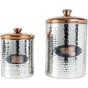 Copper Top - Hammered Stainless Steel Pet Treat/Food Set 2/Pkg