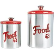 Red Top - Stainless Steel Pet Treat/Food Set 2/Pkg