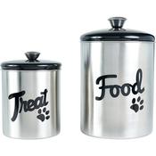 Black Top - Stainless Steel & Black Top Treat & Food Set 2pc