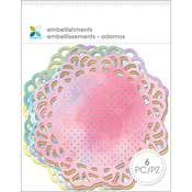 "Bright Watercolor - Momenta Doily 4"" 6/Pkg"