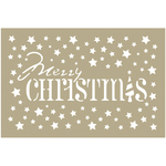 "Merry Christmas Stars - Couture Creations Be Merry Stencil 4""X6"""
