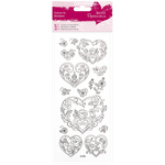 Rose Heart - Papermania Glitter Colour In Stickers