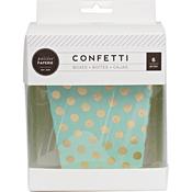 Mint W/Gold Foil Dots - Confetti Treat Boxes 6/Pkg
