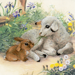 "11.75""X11.75"" 10 Count - Lamb And Rabbit Counted Cross Stitch Kit"