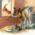 "11.75""X11.75"" 10 Count - Goatling And Kitten Counted Cross Stitch Kit"