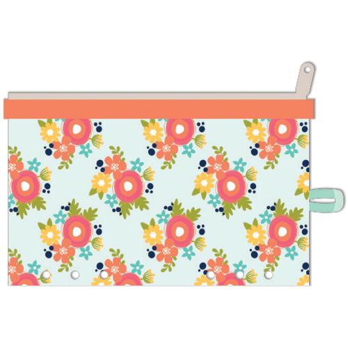 "Orange Floral - Day 2 Day Planner Zipper Pouch 5""X8"""