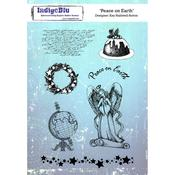 "Peace On Earth - IndigoBlu Cling Mounted Stamp 8""X5.5"""