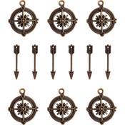 Compass & Mini Arrow Charms - Ken Oliver Vintage Embellishments