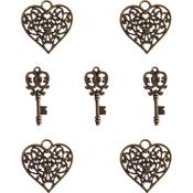 Heart & Key Charms - Ken Oliver Vintage Embellishments