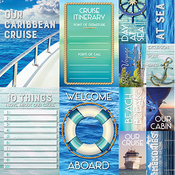 "Caribbean Cruise Poster Stickers 12""X12"""