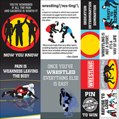 "Wrestling Poster Stickers 12""X12"""