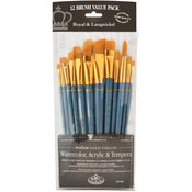 12/Pkg - Golden Taklon Angular Variety Pack Brush Set