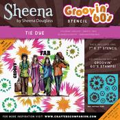 """Tie Dye - Sheena Douglass Grooving 60s Stencil 7""""X7"""""""
