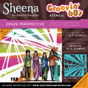 "Crazy Perspective - Sheena Douglass Grooving 60s Stencil 7""X7"""