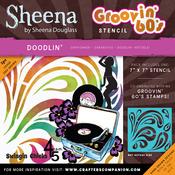"Doodlin - Sheena Douglass Grooving 60s Stencil 7""X7"""