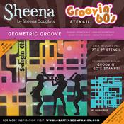 "Geometric Groove - Sheena Douglass Grooving 60s Stencil 7""X7"""