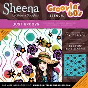 "Just Groovy - Sheena Douglass Grooving 60s Stencil 7""X7"""
