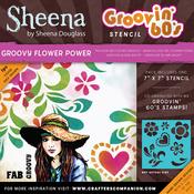 "Groovy Flower Power - Sheena Douglass Grooving 60s Stencil 7""X7"""