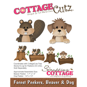 """Beaver & Dog 1.3"""" To 1.7"""" - CottageCutz Forest Peekers Die"""