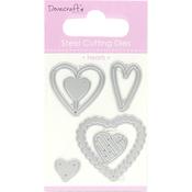Hearts, 5/Pkg - Dovecraft Value Die