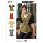 6-8-10-12-14 - SIMPLICITY MISSES' PEPLUM TOP WITH NECKLINE AND SLEEVE VARIA