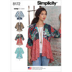 XXS-XS-S-M-L-XL-XXL - SIMPLICITY MISSES' FASHION KIMONOS WITH LENGTH, FABRIC AND T