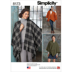 ONE SIZE - SIMPLICITY MISSES' FLEECE PONCHO WRAPS