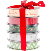 Christmas - American Crafts Ribbon 3yd Each 5/Pkg