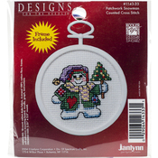 "2.5"" Round 18 Count - Patchwork Snowman Mini Counted Cross Stitch Kit"