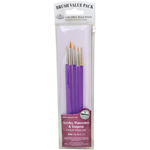 Gold Taklon Acrylic Handle 5/Pkg - Value Pack Brush Sets