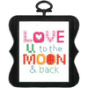 3 X3  14 Count - Beginner Minis Love U To The Moon Counted Cross Stitch Kit Bucilla-Beginner Minis Counted Cross Stitch Kit: Love U To The Moon. Beginner Minis are fresh and modern designs perfect for the beginner or a quick project. These can be used as gift tags or ornaments. This package contains one 3x3 inch frame, 14ct cotton white aida cloth, floss, needle, chart and easy to follow instructions. Imported.