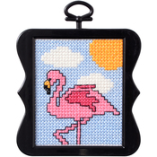 "3""X3"" 14 Count - Beginner Minis Flamingo Counted Cross Stitch Kit"