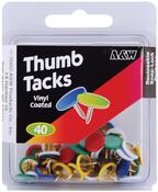 Assorted Colors - Thumbtacks 40/Pkg