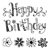 "Happy Birthday - Inkadinkado Clear Mini Stamps 2.5""X2.5"""