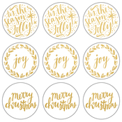 "Gold 'Tis The Season - Lucky Dip Foil Stickers 4""X4"" 3/Pkg"