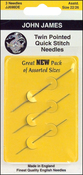 Size 24 3/Pkg - Twin Pointed Quick Stitch Tapestry Hand Needles