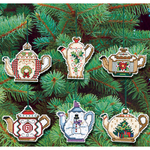 """3"""" 14 Count Set Of 6 - Christmas Teapot Ornaments Counted Cross Stitch Kit"""