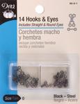 Black - Hooks & Eyes Size 0 14/Pkg