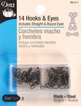 Black - Hooks & Eyes Size 2 14/Pkg