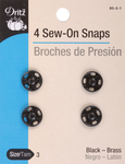 Size 3 4/Pkg - Black Sew-On Snaps